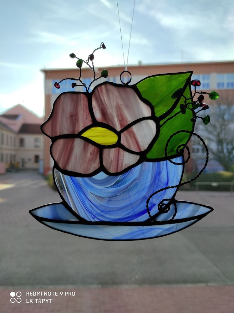 Vitráž Květ v hrnečku