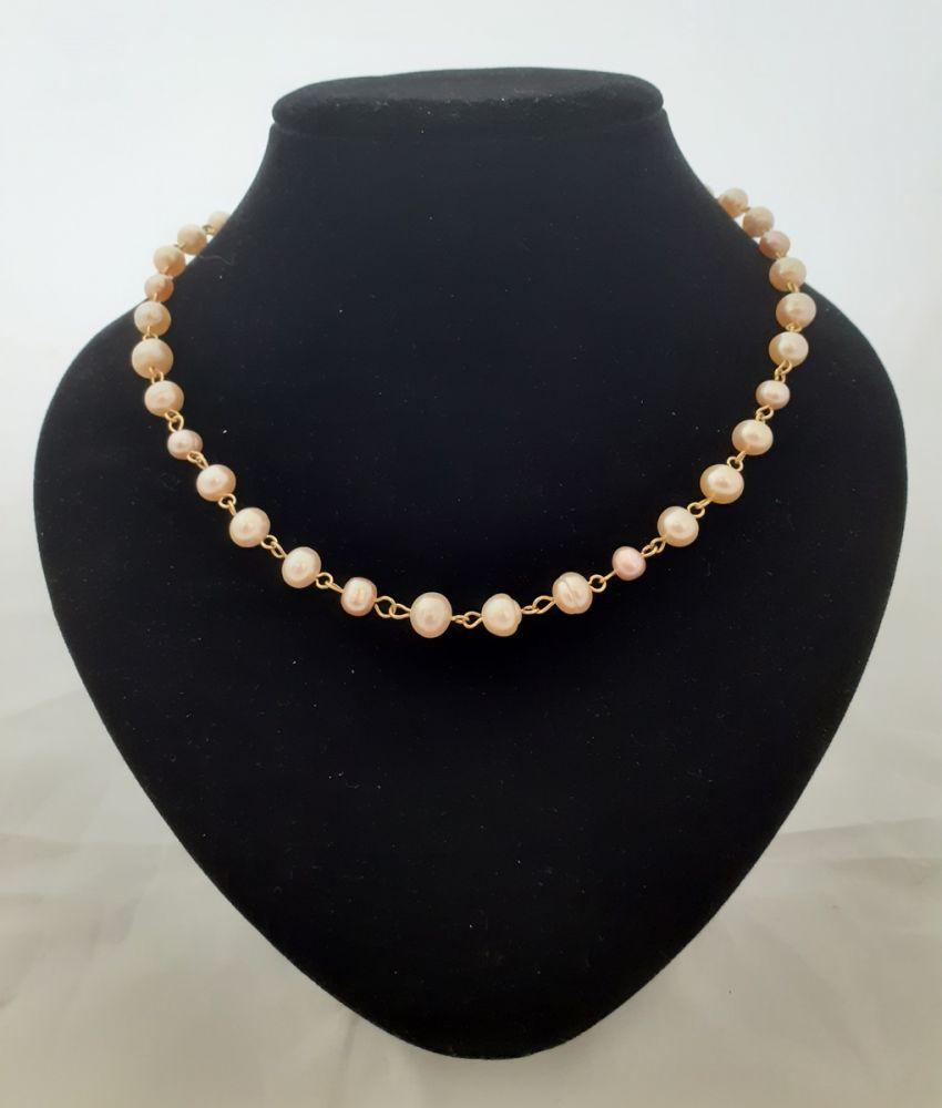 Náhrdelník s růžovými říčními perlami