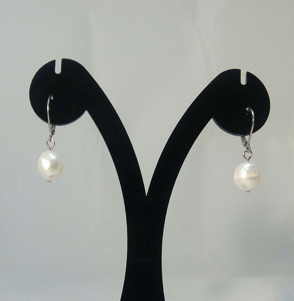 Náušnice s říční perlou